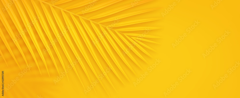 Fototapeta Colorful summer background with copy space. Bright yellow 3d illustration of tropical palm branch.
