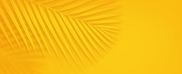 Colorful summer background with copy space. Bright yellow 3d illustration of ...