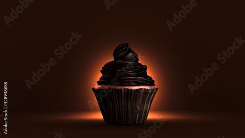 Fototapeta Cupcake à la crème au chocolat noir. Rendu 3D