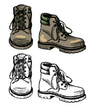 Boots For Hiking And Tourism. Hand Drawn Vector Illustration. Set Of Contour And Color Drawing Isolated On White. Doodles Element For Design, Print, Card, Sticker. Vintage, Ink Sketch, Realistic Style