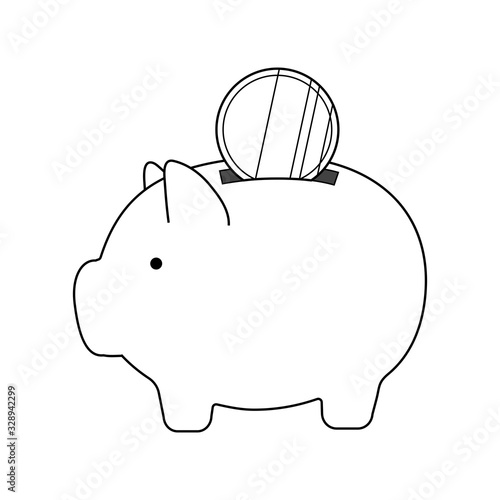 Piggy bank with coins Canvas Print