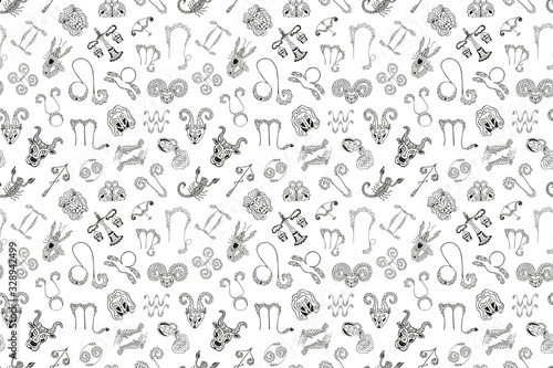 Black and white seamless pattern of 12 symbols and zodiac signs emblems Wallpaper Mural