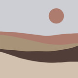 Modern abstract landscape. The sky, the hills, the sun. Vector illustration - 328942660