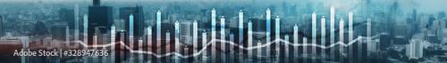 Obraz Finance Chart Overlaid on modern City. Panoramic Banner Concept. - fototapety do salonu