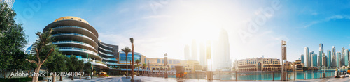 Dubai Mall, pool with famous fountains and buildings around, downtown panorama in sunny morning, United Arab Emirates Wallpaper Mural