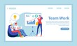 Team Work, Unity Flat Landing Page Vector Template