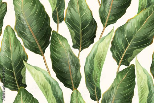 Obraz Palm leaves seamless pattern - fototapety do salonu