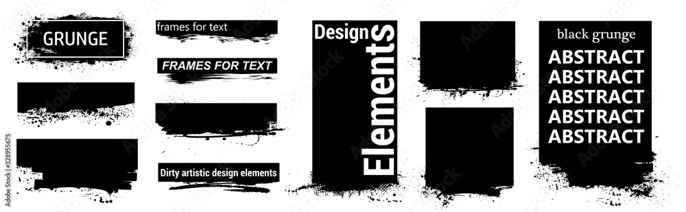 Fototapeta Black grunge for text with frame and Splashes. Dirty artistic design elements, boxes, frames for text. Black splashes isolated. Vector Set of black paint, ink brush strokes, brushes, lines. Vector
