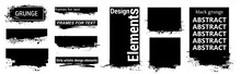 Black Grunge For Text With Frame And Splashes. Dirty Artistic Design Elements, Boxes, Frames For Text. Black Splashes Isolated. Vector Set Of Black Paint, Ink Brush Strokes, Brushes, Lines. Vector