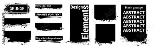 Obraz Black grunge for text with frame and Splashes. Dirty artistic design elements, boxes, frames for text. Black splashes isolated. Vector Set of black paint, ink brush strokes, brushes, lines. Vector  - fototapety do salonu