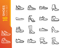 Shoes - Minimal Thin Line Web Icon Set. Outline Icons Collection. Simple Vector Illustratio