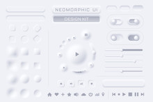 Neomorphic UI UX White Design Kit Vector Template For Mobile And Web Apps Neomorphism Style