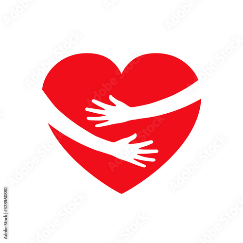 Hugging heart, charity icon, hands holding heart, arm embrace love yourself, org Fototapet