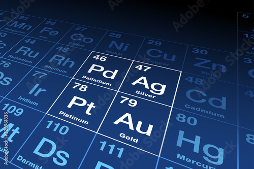 Precious metals on periodic table Canvas Print