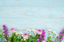 Wooden Background With Colorful Gerbera Flower