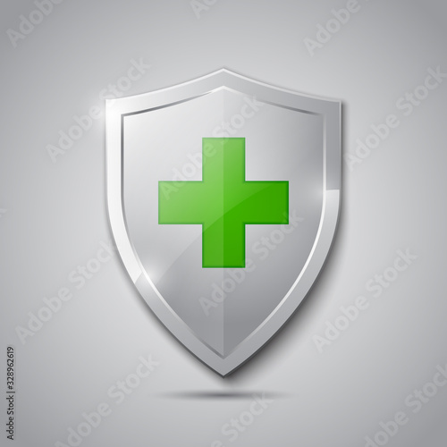 Medical health protection shield with cross Wallpaper Mural