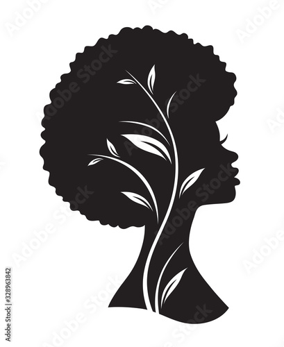 Vector illustration of black African American woman with afro hairstyle. #328963842