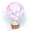 cute bunny flying with air balloon nursery watercolor illustration