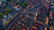 Aerial view of the city Murrhardt in Germany on a sunny day in spring. Flight above the old town.