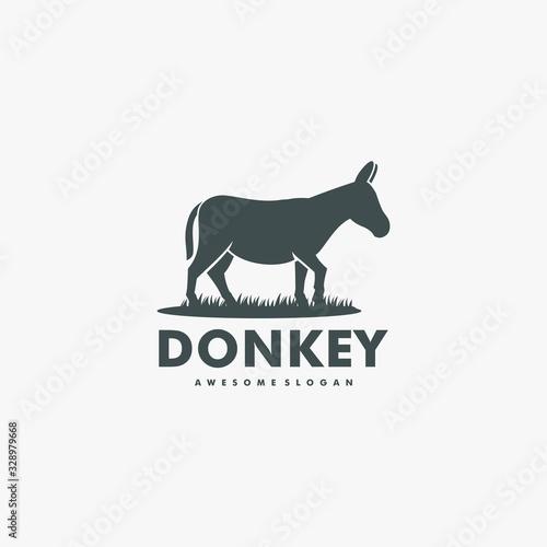 Obraz na plátne Vector Logo Illustration Donkey Silhouette Style.