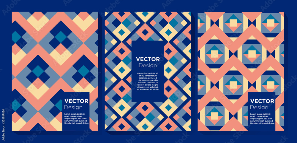 Abstract Colorful Pattern Design Set