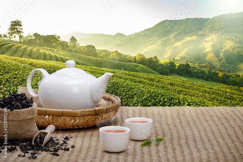 Fototapeta Warm cup of tea with teapot, green tea leaves and dried herbs on the bamboo mat at morning in plantations background with empty space, Organic product from the nature for healthy with traditional obraz
