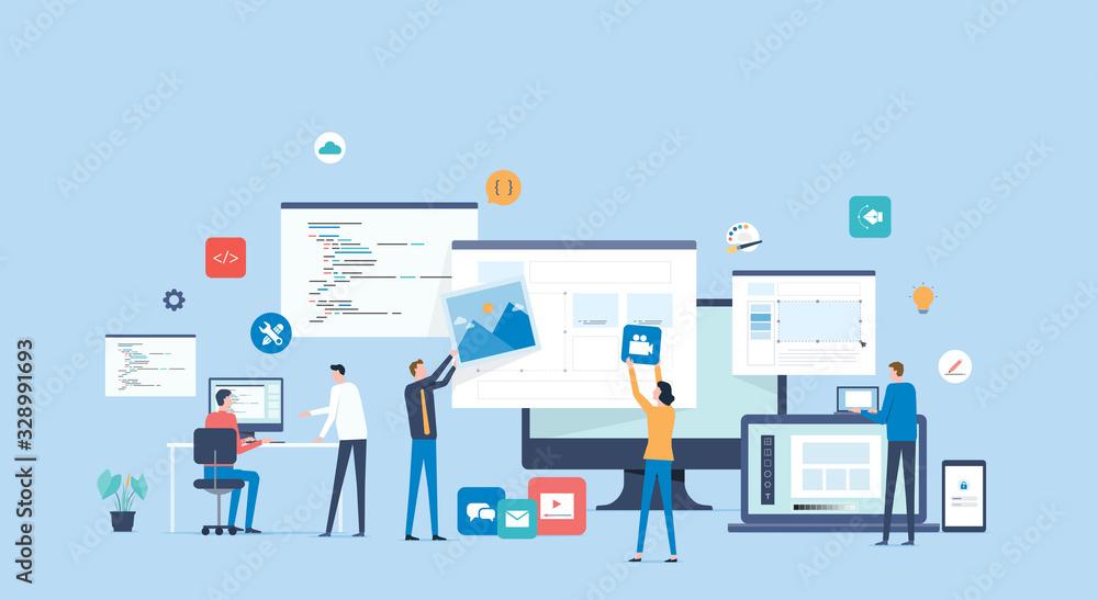 Fototapeta flat vector  software developer team working and meeting process concept