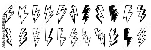 Obraz Lightning bolt icons set. Thunder hand drawn doodle. Vector illustration - fototapety do salonu