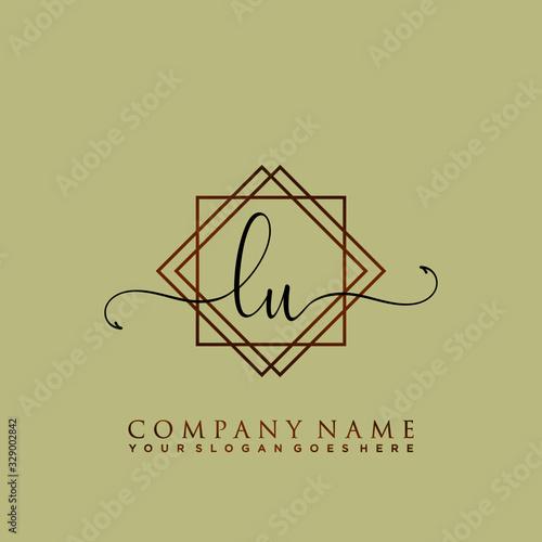 Initial Letter LU Signature Handwriting and Elegant Logo Design Template Vector Fototapete