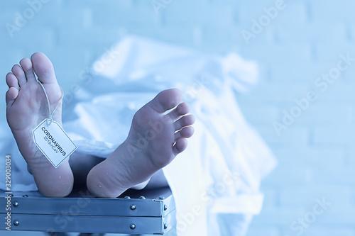 Photo concept imitation morgue, coronavirus victim killed by 2019-ncov, legs of a corp