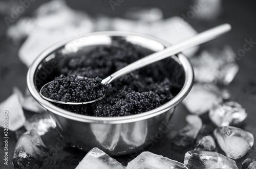 Black Caviar as detailed close-up shot, selective focus Canvas Print