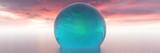 huge crystal sphere is swimming in the ocean