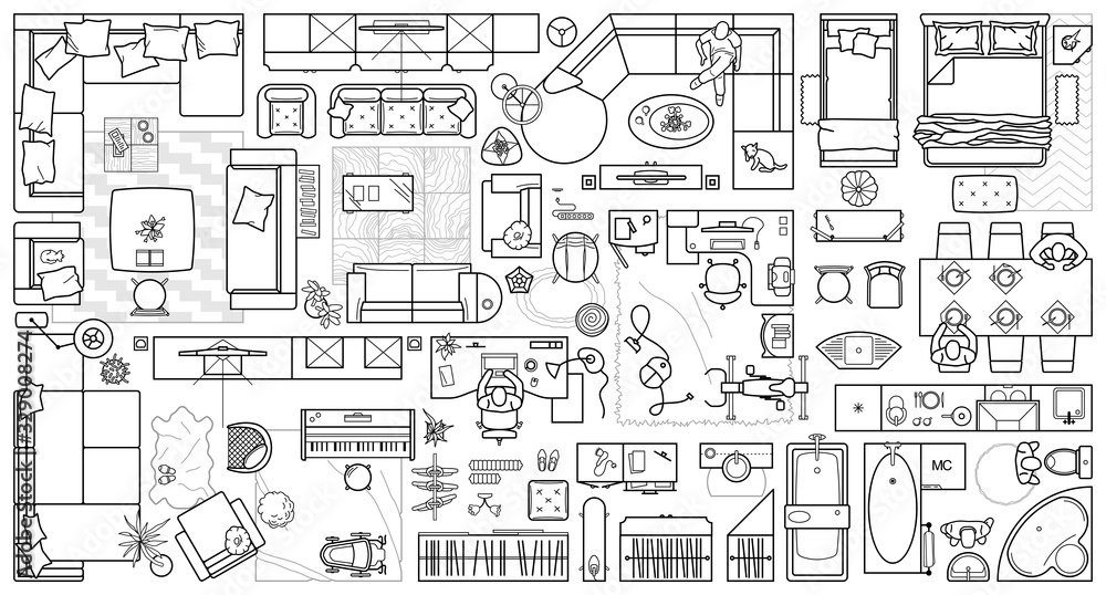Fototapeta Floor plan icons set for design interior and architectural project (view from above). Furniture thin line icon in top view for layout. Blueprint apartment. Vector