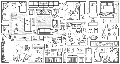 Obraz Floor plan icons set for design interior and architectural project (view from above). Furniture thin line icon in top view for layout. Blueprint apartment. Vector - fototapety do salonu