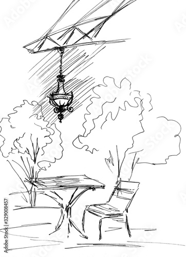 Graphic black and white drawing of an outdoor cafe with a beautiful chandelier фототапет