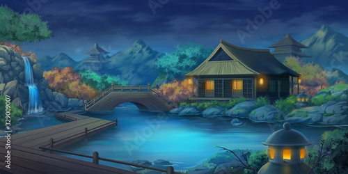 Beautiful Japanese Courtyard Landscape in the Night. Fantasy Backdrop. Concep...