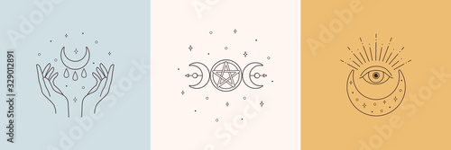 Photo Mystic boho logo, design elements with moon, hands, star, eye