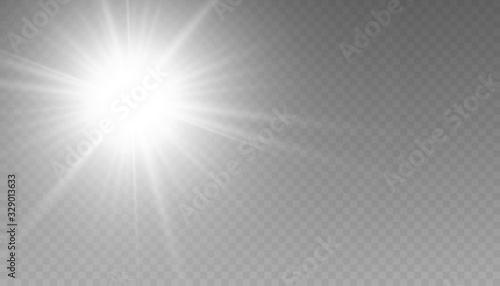 Fototapeta Glow isolated white transparent light effect set, lens flare, explosion, glitter, line, sun flash, spark and stars. obraz na płótnie