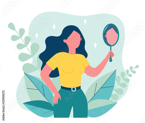 Self centered woman suffering from narcissism. Smiling girl looking at herself in mirror. Vector illustration for ego, psychology, reflection concept Wall mural
