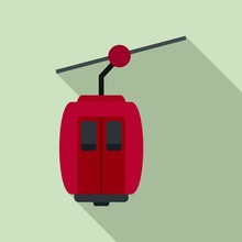 Cable Car Icon. Flat Illustration Of Cable Car Vector Icon For Web Design