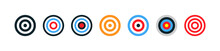 Target Collection. Target Vector Icons, Isolated On White Background. Targets Different Shapes And Color. Archery Target Business Concept. Vector Illustration