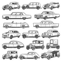 Retro Vintage Cars. Isolated Vector Icons Set, Monochrome Old Vehicles. Classic Antique Models, Convertible Coupe And Luxury Cabriolet, Roadster Sport Car, Minivan Or Passenger Coach
