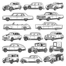 Retro Vintage Cars. Isolated V...