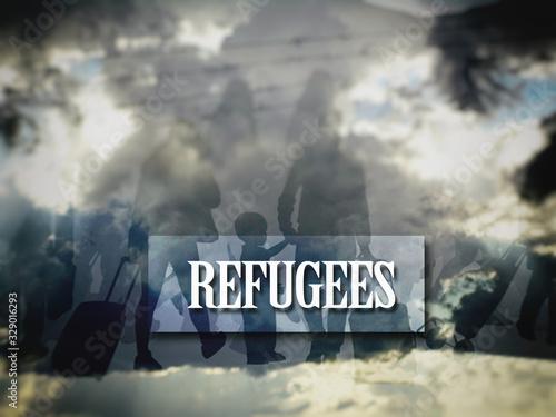Valokuvatapetti The refugees migrate to Europe, blurred image.