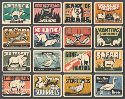 Fotografering Hunting and wild animals retro posters or cards