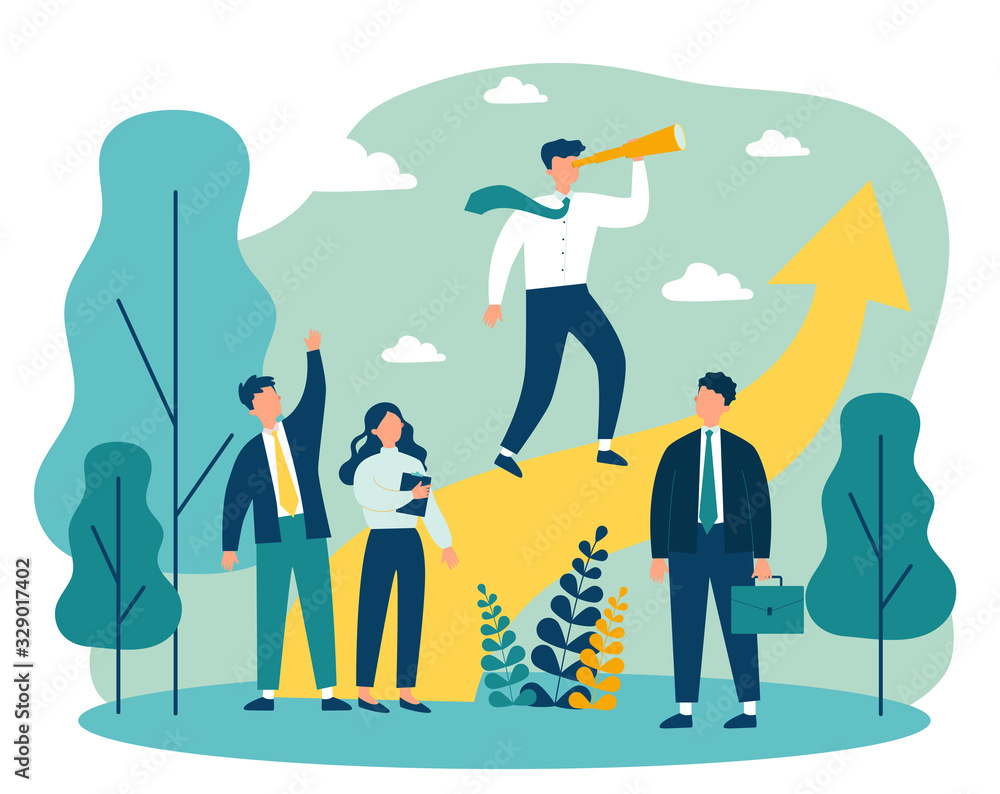 Fototapeta Group leader with spyglass looking far away. Business team standing near increase chart. Vector illustration for leadership, challenge, training, planning concept