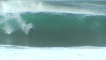 Surfer Wipes Out At Pipeline