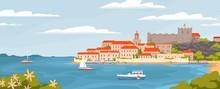 Beautiful European Town On Sum...