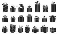 Gift Box Vector Black Set Icon...