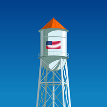 A Water Tower With The US Flag Drawn On It. Minimalistic Composition With The Clear Blue Sky In The Background, Vector Illustration